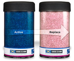As moisture is absorbed the desiccant beads change from blue to pink